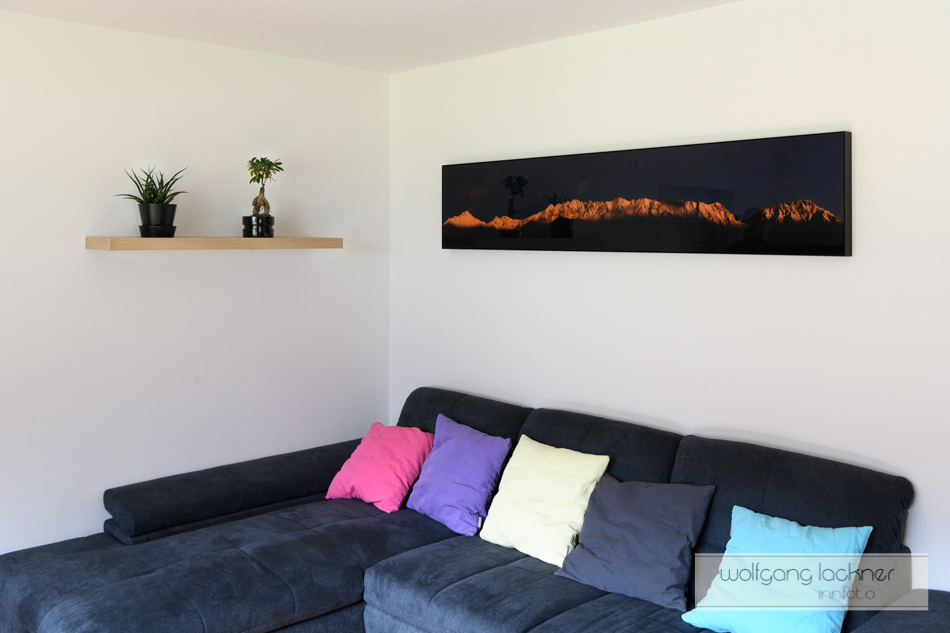 Nordkettenpanorama 240 x 40 cm Echtfoto hinter Acrylgals in Galerie-Artbox Rahmen